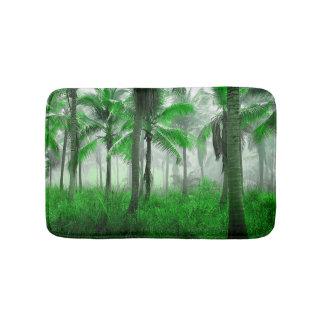 Fogy Tropical Palm Tree Forest Bath Mat