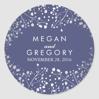 Foil Baby's Breath Navy and Silver Wedding Round Sticker
