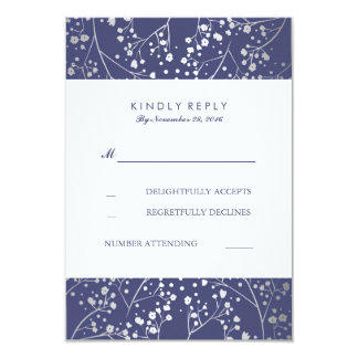 Foil Baby's Breath Navy Silver Wedding RSVP Cards