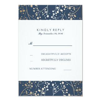 Foil Baby's Breath Navy Wedding RSVP Cards 9 Cm X 13 Cm Invitation Card