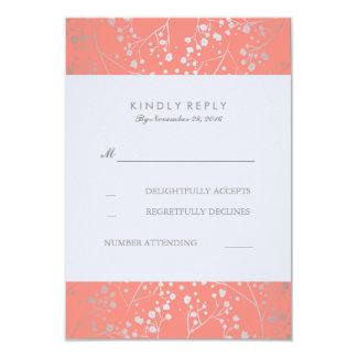 Foil Baby's Breath Silver Coral Wedding RSVP Cards 9 Cm X 13 Cm Invitation Card
