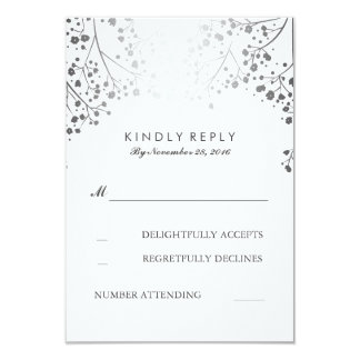 Foil Baby's Breath Silver Wedding RSVP Cards