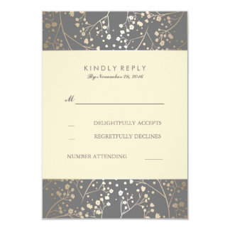 Foil Baby's Breath Wedding RSVP Cards