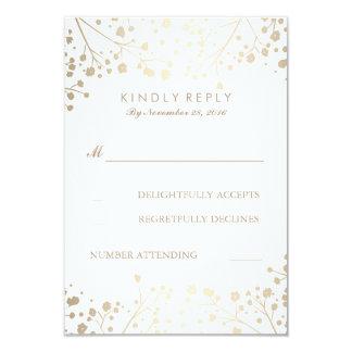 Foil Baby's Breath Wedding RSVP Cards 9 Cm X 13 Cm Invitation Card