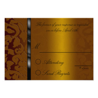 Foil Damask Chocolate Reply Card Custom Announcement