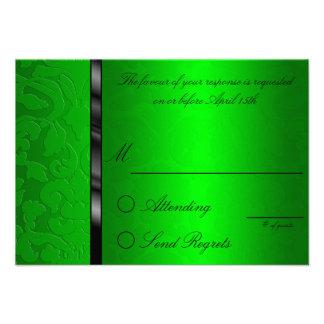 Foil Damask Green Reply Card Custom Announcement