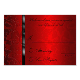 Foil Damask Red  Reply Card 9 Cm X 13 Cm Invitation Card