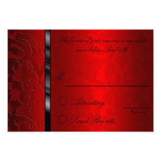 Foil Damask Red  Reply Card Personalized Invites