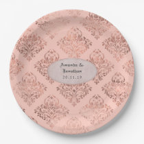 Foil Damask Rose Gold and Blush Wedding Paper Plate