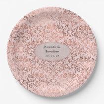 Foil Damask Rose Gold and Blush Wedding Paper Plate