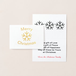 Foil Merry Christmas Snowflake - 3x5 Folded Card