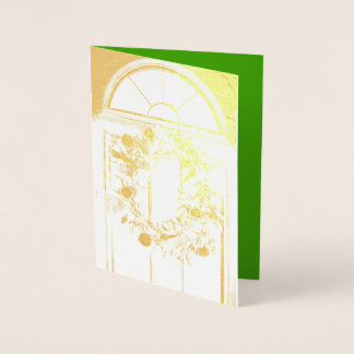 Foil Merry Christmas wreath greeting card