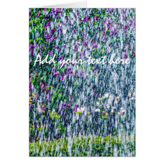 Fointain jets and lilac flowers card