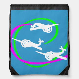 Fokker Air show vivid vapor tails Drawstring Bags