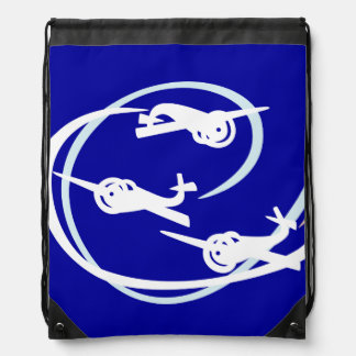 Fokker Air show white and blue Drawstring Bags