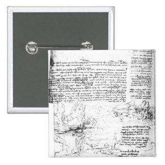 Fol.145v-a, page from Da Vinci's notebook 15 Cm Square Badge