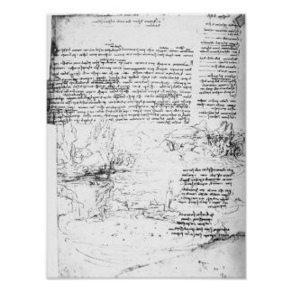 Fol.145v-a, page from Da Vinci's notebook Poster