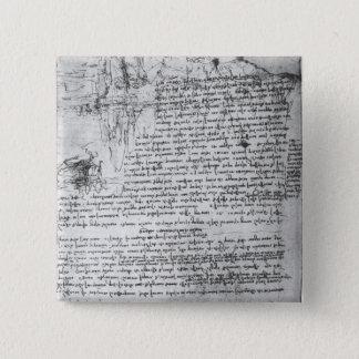 Fol.145v-b, page from Da Vinci's notebook 15 Cm Square Badge
