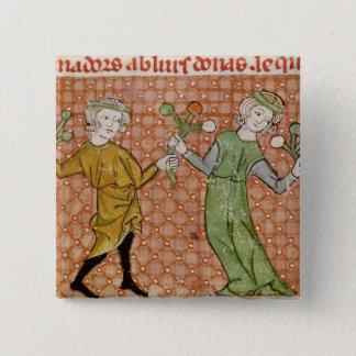 Fol.215v The Temptation: A Dancing Couple 15 Cm Square Badge