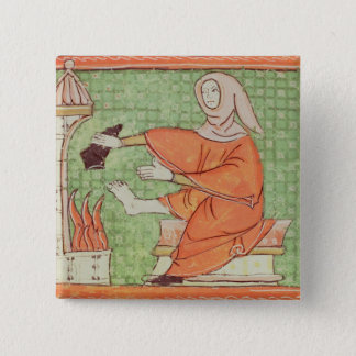 Fol.58r February: Warming by the Fire 15 Cm Square Badge