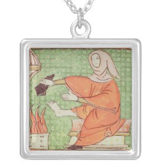 Fol.58r February: Warming by the Fire Silver Plated Necklace