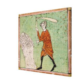 Fol.59r August: Threshing Wheat Canvas Print