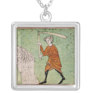 Fol.59r August: Threshing Wheat Silver Plated Necklace