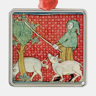 Fol.59v November: Gathering Acorns Silver-Colored Square Decoration