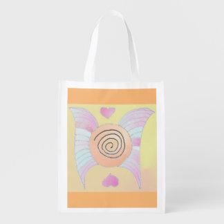 Foldaway Re-useable Bag Angel Wings / Hearts Art