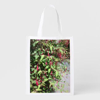 Foldaway Re-useable Bag Fuschia Flowers