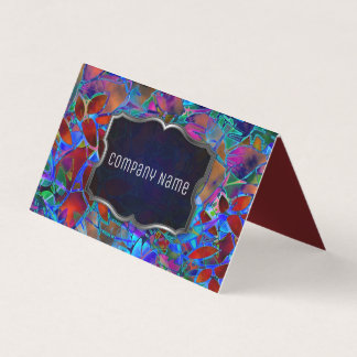 Folded Business Card Floral Abstract Stained Glass