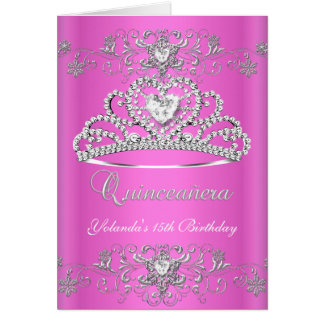 Folded Card Quinceanera Pink Glitter Tiara