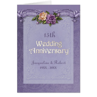 Folded Damask  Roses Purple 15th Anniversary Card