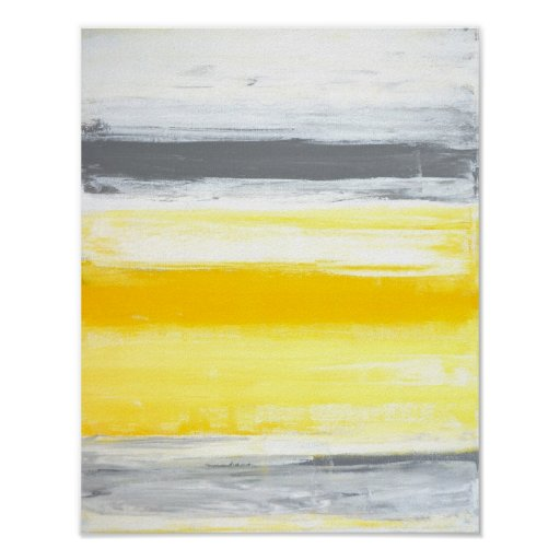 'Folded' Grey and Yellow Abstract Art Poster