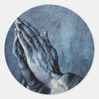 Folded Hands Prayer - Durer Round Sticker
