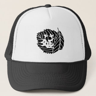 Folded oak leaf worm-eaten trucker hat