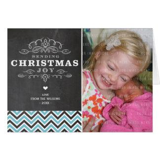 FOLDED PHOTO CHRISTMAS CARD vintage chalkboard