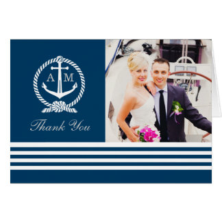 Folded Photo Thank You Notes | Nautical Stripes