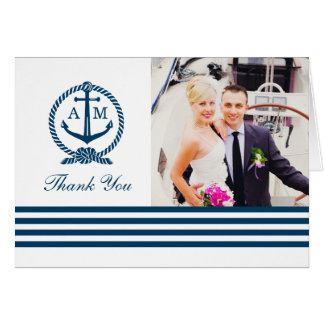 Folded Photo Thank You Notes | Nautical Stripes Note Card