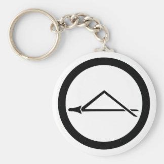 Folded pine needle in circle basic round button key ring