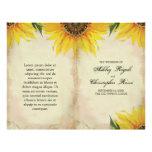 Folded Sunflower Wedding Program - Vintage 21.5 Cm X 28 Cm Flyer