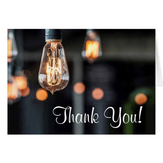 Folded Thank You Card Country Light Bulbs