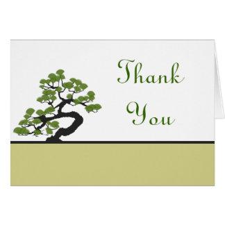 Folded Thank You Card Japanese Green Bonsai Tree O
