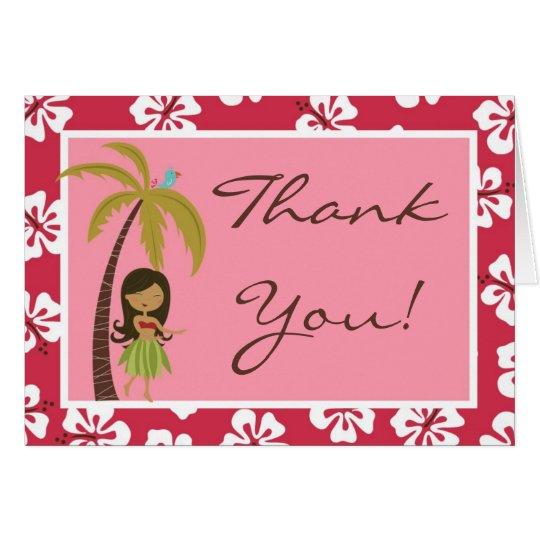 Folded Thank you Card Pink Hawaiian Luau Tropical