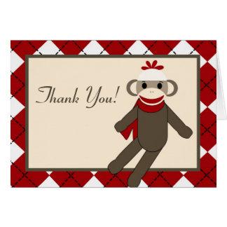 Folded Thank you Card Red Sock Monkey Argyle