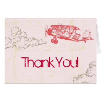 Folded Thank You Card Vintage Airplane in Clouds
