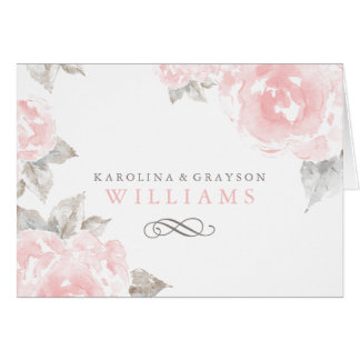 Folded Thank You Cards   Pink Watercolor Roses