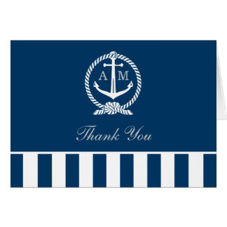 Folded Wedding Thank You Notes | Nautical Stripes