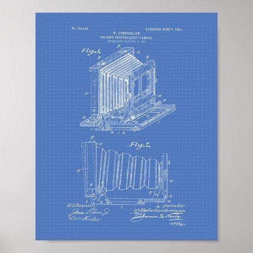 Folding Camera 1904 Patent Art - Blueprint Poster