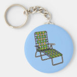 Folding Lawn Chair 2 Basic Round Button Key Ring